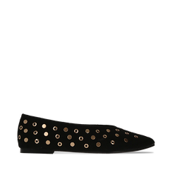 Ballerine nere in microfibra scamosciata e mini-borchie, tacco basso, Primadonna, 124991821MFNERO035, 001a