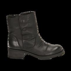 Biker boots neri in pelle, tacco 4 cm , Stivaletti, 147718214PENERO036, 001 preview