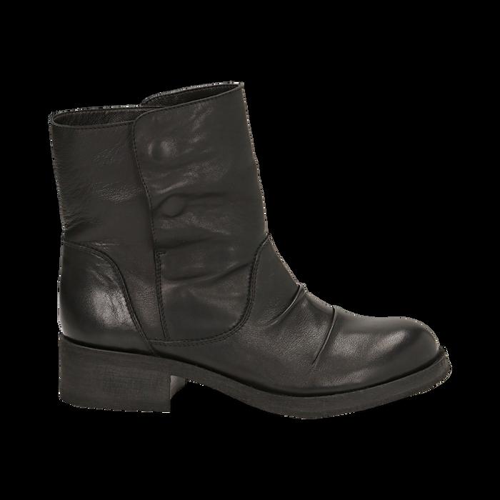 Biker boots neri in pelle, tacco 4 cm , Stivaletti, 147718214PENERO036