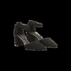 Décolleté nere con maxi cinturino, tacco 7,5 cm, Scarpe, 122166910MFNERO037, 002