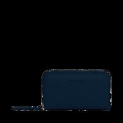 Portafoglio blu in eco-pelle a tre scomparti, Borse, 133723501EPBLUEUNI, 001a