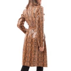 Trench cuoio in eco-pelle effetto snake skin, Abbigliamento, 14C903431EVCUOI3XL, 002a