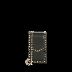 Porta telefono borchiato nero , Borse, 165123162EPNEROUNI, 001a