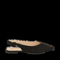 Slingback flat nere in microfibra, Primadonna, 154918652MFNERO035, 001a