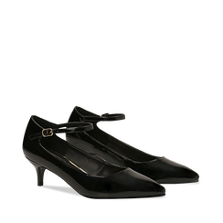 Décolleté nere kitten heels in vernice, tacco 3 cm, Primadonna, 124951721VENERO037, 002a
