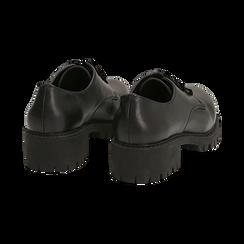 Stringate nere in eco-pelle con lacci in velluto, Scarpe, 140585669EPNERO036, 004 preview