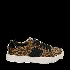 Sneakers leopard marroni in eco-pelle, Scarpe, 142619071CVLEMA036, 001a