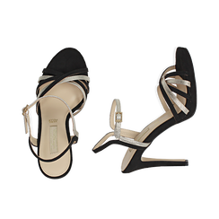 Sandalias en microfibra multilistino color negro, tacón 10,50 cm , OPORTUNIDADES, 152174020MFNERO036, 003 preview