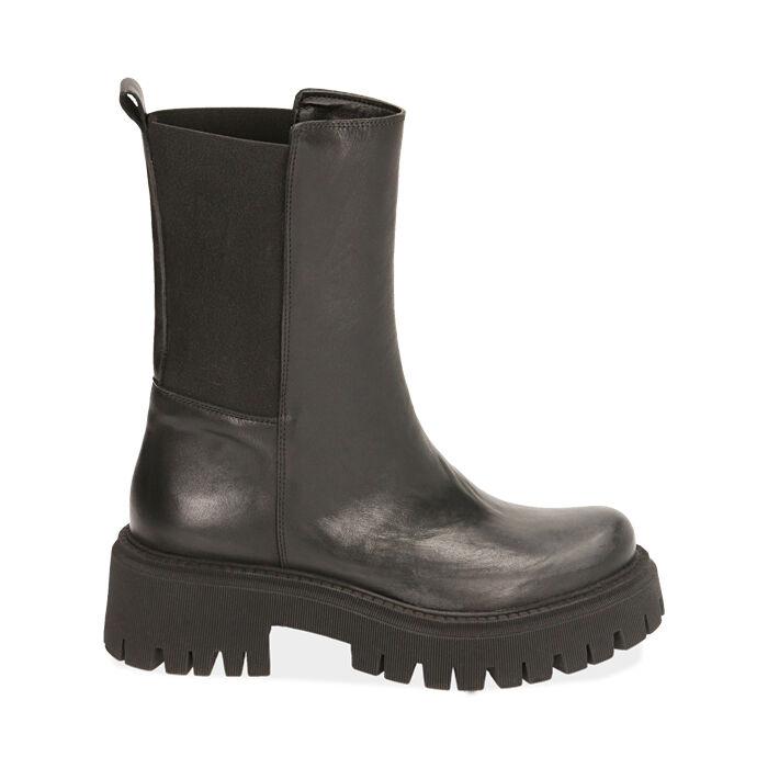 Ankle boots neri in pelle, tacco 5,5 cm , Primadonna, 187204401PENERO035