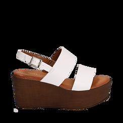 Sandali platform bianchi in eco-pelle, zeppa 8 cm, Primadonna, 136700012EPBIAN035, 001a