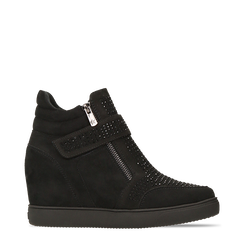 Sneakers nere con zip e chiusura a strappo, 129313816MFNERO035, 001a