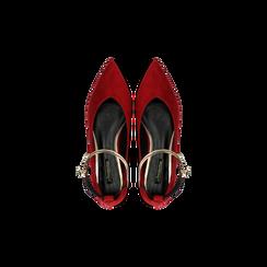 Ballerine rosse microfibra scamosciata con cavigliera e tacco basso, Primadonna, 124971303MFROSS, 004 preview
