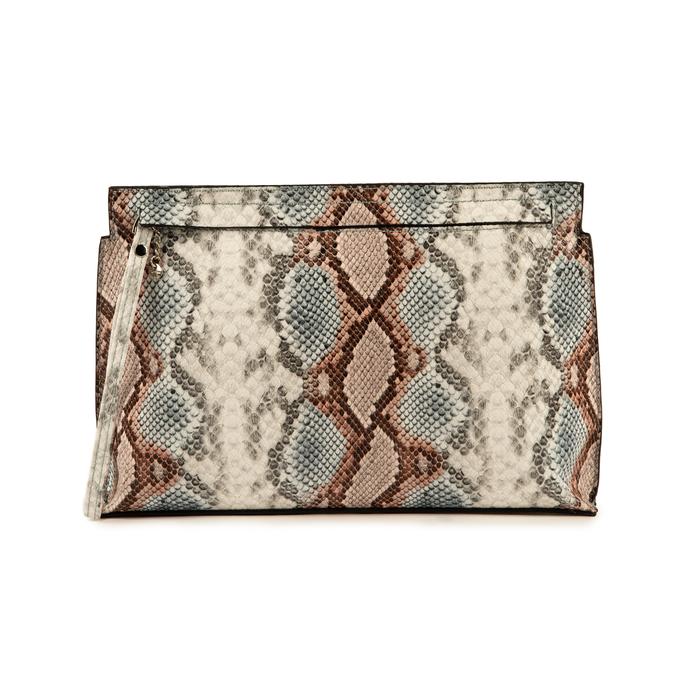 Pochette en eco-piel con estampado de serpiente color celeste, Bolsos, 15D208516PTCELEUNI