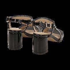 Sandalias en charol color negro, tacón 6,50 cm , OPORTUNIDADES, 152166341VENERO036, 004 preview