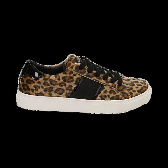 Sneakers leopard marroni in eco-pelle, Scarpe, 142619071CVLEMA035