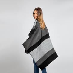 Poncho grigio effetto lamé, stampa a quadri multicolore, Abbigliamento, 12B409678TSNEGR, 004 preview