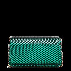Pochette verde a rete in ecopelle effetto specchio, Saldi Borse, 123308810SPVERDUNI, 001a