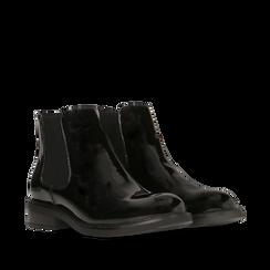 Chelsea boots neri in vernice, Primadonna, 140618208VENERO038, 002a