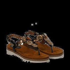Sandali infradito neri in eco-pelle con suola bianca, Scarpe, 134922304EPNERO035, 002a