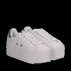 Sneakers bianche in eco-pelle dettaglio argento e suola platform, Scarpe, 132602020EPBIAR036, 002a