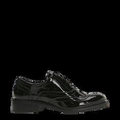Francesine stringate vernice nera punzonata, Scarpe, 120618203VENERO041, 001a