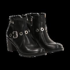 Ankle boots neri in eco-pelle con oblò, tacco 7 cm, Scarpe, 130682986EPNERO036, 002 preview