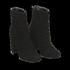 Ankle boots neri in camoscio, tacco 10 cm , Stivaletti, 14D601211CMNERO035, 002a