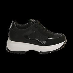 Sneakers nere glitter, zeppa 5 cm , Primadonna, 162800482GLNERO035, 001 preview