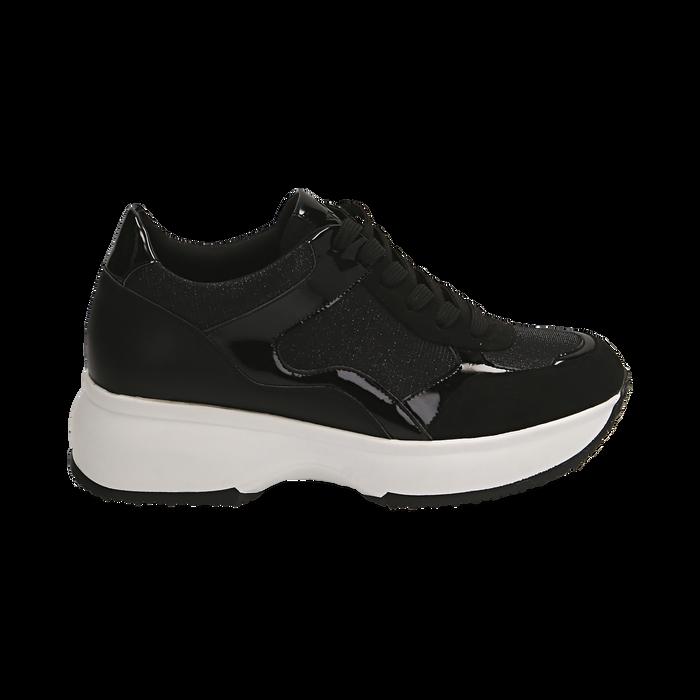 Sneakers nere glitter, zeppa 5 cm , Primadonna, 162800482GLNERO035