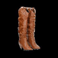 Stivali cuoio sopra il ginocchio, tacco cono 8 cm, Scarpe, 124995700EPCUOI, 002 preview