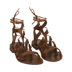 Sandali gladiator cognac in pelle di vacchetta, Primadonna, 178100348VACOGN035, 002 preview