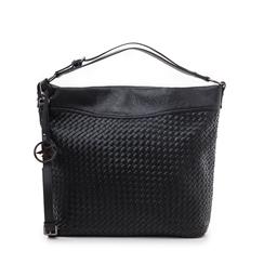 Hobo bag nera in eco-pelle intrecciata, Borse, 145700319EINEROUNI, 001a