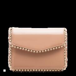 Pochette con tracolla rosa nude in ecopelle vernice, profili mini-borchie, Saldi Borse, 123308852VENUDEUNI, 001a