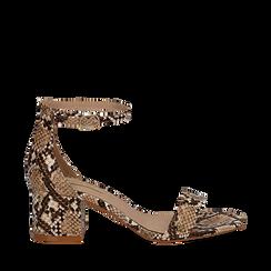 Sandali beige in eco-pelle effetto snake skin, tacco 5,5 cm, Sandali con tacco, 132707031PTBEIG037, 001a
