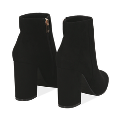 Ankle boots neri in microfibra, tacco 9 cm , Stivaletti, 142708221MFNERO036, 004 preview