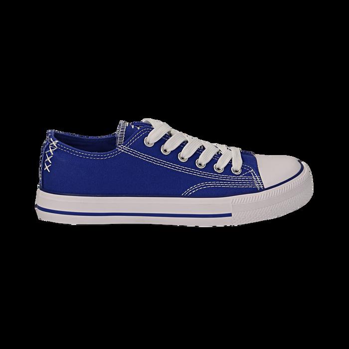 Sneakers blu in canvas, Scarpe, 137300862CABLUE036