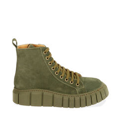 Sneakers verdi in camoscio, platform 4 cm , Primadonna, 18A504002CMVERD035, 001a