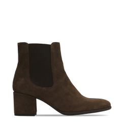 Chelsea Boots marroni in vero camoscio, tacco quadrato medio 5,5 cm, 127722102CMMARR036, 001a