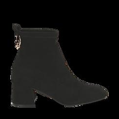 Ankle boots neri in microfibra, tacco trapezio 6 cm , Stivaletti, 142707121MFNERO035, 001a