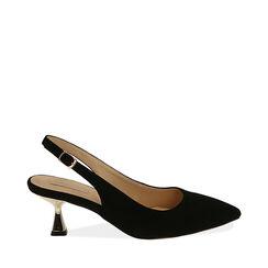 Slingback nere in microfibra, tacco 6 cm ,  Zapatos, 174954431MFNERO035, 001a