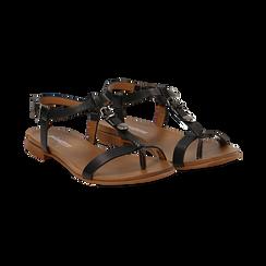 Sandali neri in eco-pelle,