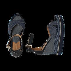 Sandali jeans in tessuto, zeppa 11 cm, Primadonna, 154422213TSJEAN036, 003 preview