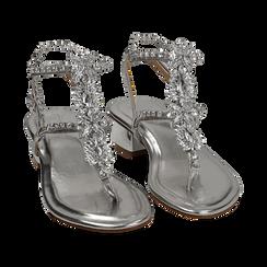 Sandali argento in eco-pelle laminata con pietre, tacco 3,5 cm, Primadonna, 154927101LMARGE036, 002 preview