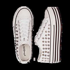 Sneakers bianche in canvas con borchie, platform 4 cm, Scarpe, 132619223CABIAN036, 003 preview