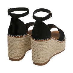 Sandali neri in microfibra, zeppa 9 cm , Chaussures, 154907132MFNERO, 004 preview