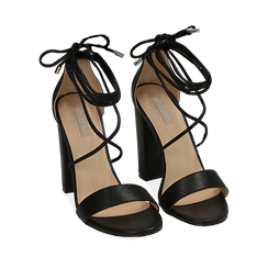 WOMEN SHOES SANDAL ECO-LEATHER NERO, Chaussures, 152760851EPNERO035, 002a
