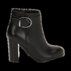 Ankle boots neri con fibbia, tacco 9,50 cm , Primadonna, 163058705EPNERO036, 001 preview