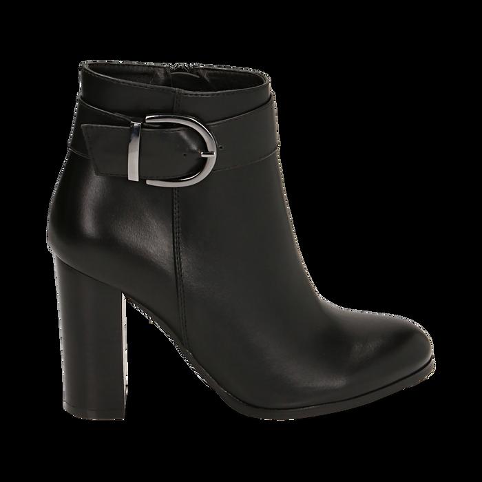 Ankle boots neri con fibbia, tacco 9,50 cm , Primadonna, 163058705EPNERO036