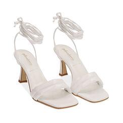 Sandali lace-up bianchi, tacco 7,5 cm, Primadonna, 17L800196EPBIAN036, 002a