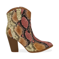 Camperos rosso/beige in eco-pelle snake print, tacco 9 cm, Stivaletti, 154930037PTRSBE035, 001a